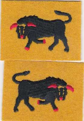 WW2 11th Armoured Division patches, facing pair, reproduction