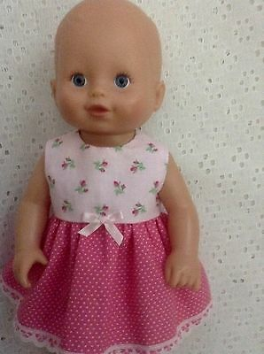 "Handmade Dolls Clothes ~fits 13"" Little Baby Born ~ Pink spots & flowers Dress"