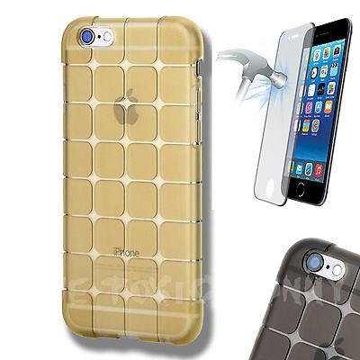 Toxic Gel Shock Case Gold Cover For iPhone 5/S With Tempered Glass Screen