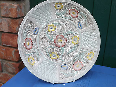 Vintage H J Wood Charger Plate for wall hanging Floral Design