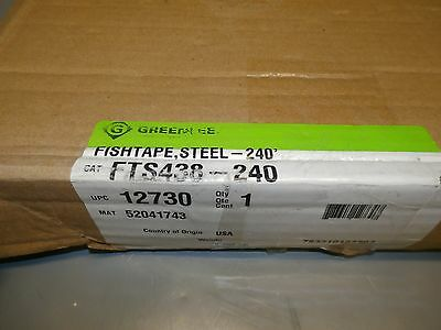 New GREENLEE FTS438-240 Fish Tape, 1/8 In x 240 ft, Steel