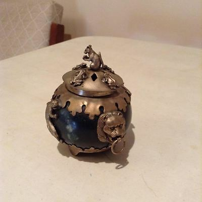 Ornamental brass & green stone jar has brass lid featuring a squirrel & frogs