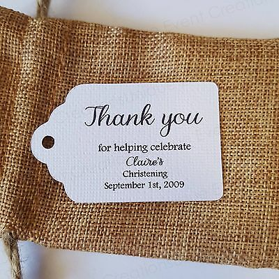 10x White Christening Baptism Thank You Gift Tags Bomboniere Favor