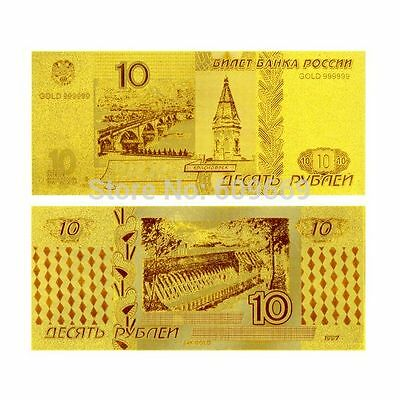 RUSSIA 10 Roubles 24K Pure Gold Foil Banknote