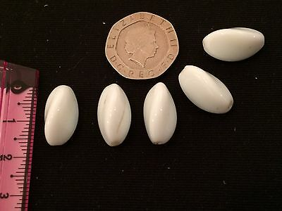 Vintage loose glass beads  - circa 1940's milk glass twisted oval (Ref 119)