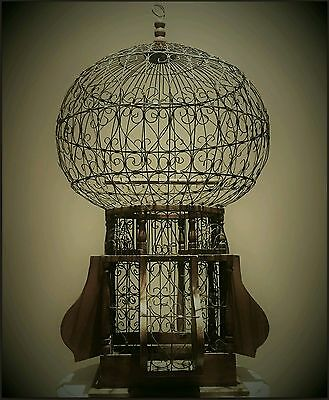 Antique French Large Dome Topped Wire & Wood Bird Cage Shabby Chic Art Deco