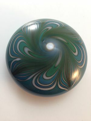 Amazing Intricate Pulled Feather Art Glass Paperweight Signed R Stanley 84