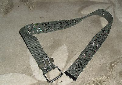 khaki Canvas Belt with sequins and beads