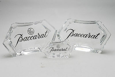 Baccarat Crystal 3 Display Signs Rare Vintage Old Stock
