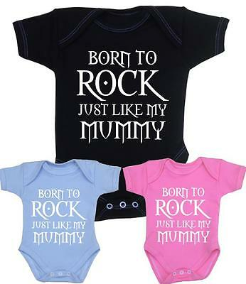 Mummy Rocks Bodysuit Vest Baby Clothes Fun Slogan Girls Boys Mum Gift NB - 12mth