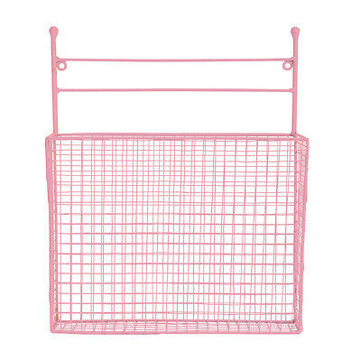 QUALITY Metal Wall Basket Mounting Storage Hanging PINK Magazine Holder 38cm H