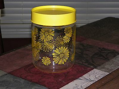 """Vtg Pyrex Yellow  Daisy Flower Jar Corning Glass Storage with tight seal Lid 6"""""""