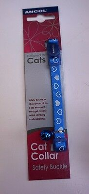 VALENTINES Cat Collar BLUE & White Hearts safety buckle + Bell ANCOL SOFT COLLAR