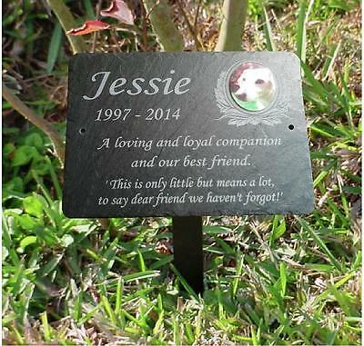 Hand Crafted Pet Photo Memorial Slate Plaque Grave Marker - Add Message & Photo