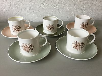 5 x Susie Cooper Coffee Espresso Cups and Saucers - Musical Instrument Design