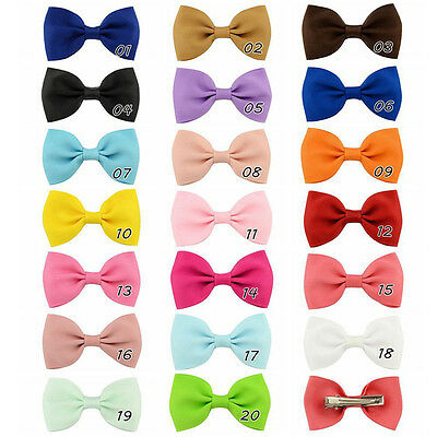 20X Hair Bows Band Boutique Alligator Clip Grosgrain Ribbon For Girl Baby Kids 1
