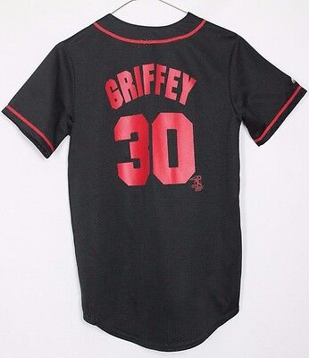 Griffey #30 Cincinnati Reds Baseball Jersey Shirt Majestic Boys Large