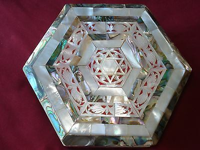 Vintage Mother Of Pearl And Abalone Shell Design  Jewelry Box W/ Star Of David