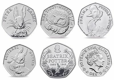 Ultra Rare Uncirculated Beatrix Potter Coin Collection 2016 50p Five Coins