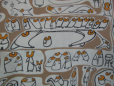 Great Unused Midcentury Atomic Playground Print Vintage Barkcloth Yardage