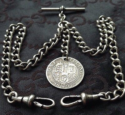 Victorian Shilling Coin Fob 1897 Antique Silver Style Double Pocket Watch Chain