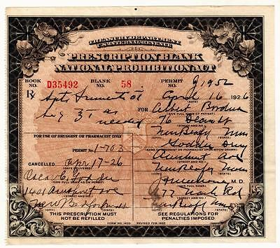 Prohibition Prescription Whiskey Alcohol Antique Medical Pharmacy Doctor 1926 MA