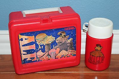 """1987 Thermos Brand """"alf"""" Lunchbox With Thermos Red Plastic Alien Productions"""
