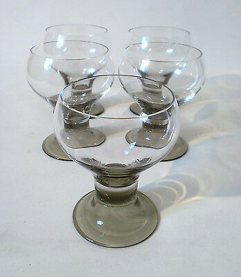 "70s 5 x Rosenthal Wein Glas ""Romus"" H11 cm set of Michael Boehm glass annees 70"