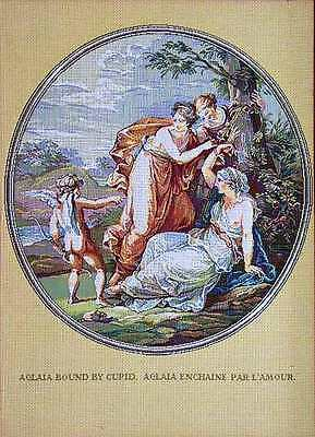 Authentic Russian TAPESTRY GOBELIN CUPID & THREE GRACES