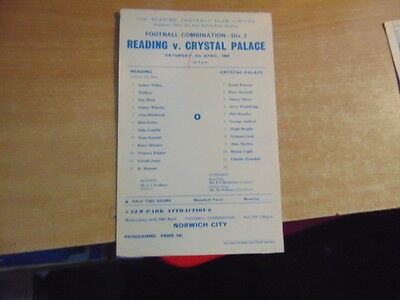 Reserves 1967/8  Reading v Crystal Palace Apr 6