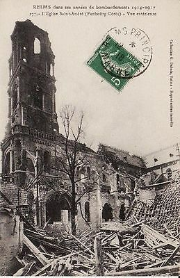 CPA . REIMS 1918 Guerre 1914  Eglise St André 51 MARNE