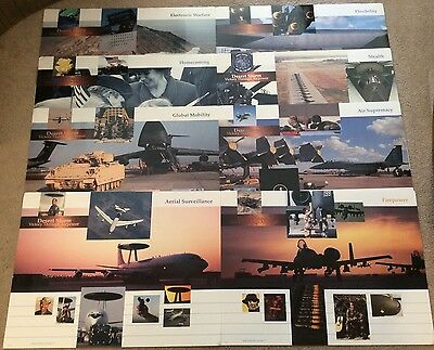 Desert Storm Victory Through Jet Airpower Lithograph Posters Set Of 8