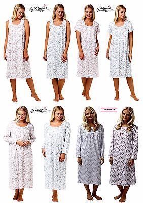 Pack Of 2 Ladies 100% Cotton Floral Bow Print Long & Short Sleeved Nightdresses