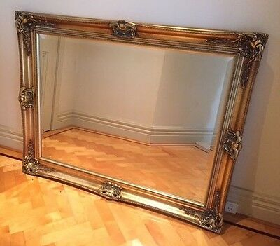 Gold Large Bevelled Wall Mirror & Frame, Antique, Chic, 120cm x 96cm