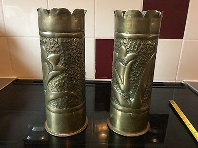 Trench Art German Ww1 75mm Cannon Shells Pair Collectible Floral Design Aws