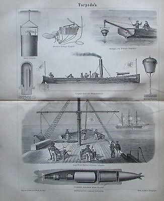 1878 TORPEDOS original antiker Druck antique print Lithografie