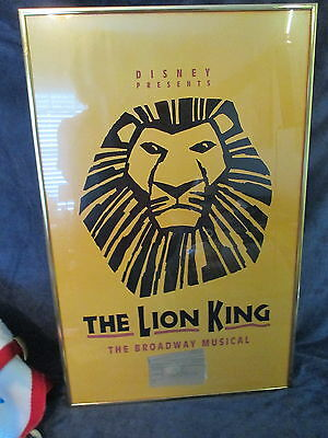 Broadway Framed LION KING Poster New Amsterdam Theatre with ticket stubs