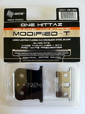 Pro-Mate One Hittaz Zero Gap Modified T Blades fits Andis T-Outliner, Black GTX