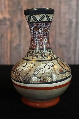Lovely Hand Painted Tonala Vase with Storks Mexico Great gift for Bird Lover!