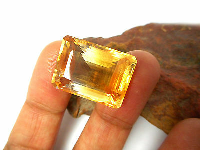 Natural  CITRINE  Grade 'A'  Baguette  Cut   Gemstone   -  Gift Boxed!