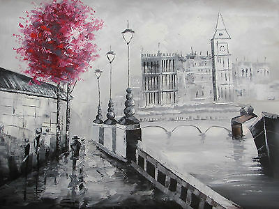 london large oil painting canvas cityscape British art red black white original