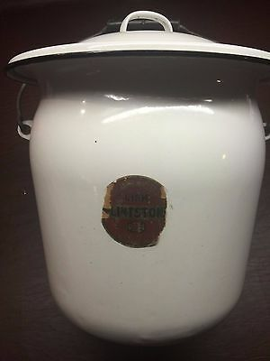 Vintage Lisk Flintstone Porcelain Enamelware White Chamber Pot with Lid & Handle