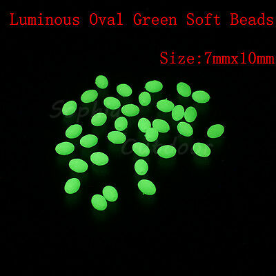 300pcs 7*10mm Oval Luminous Glow Soft Fishing Beads Lumo Green