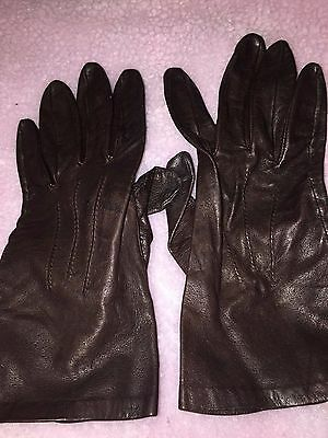 *fownes* Dark Brown Leather Women's Driving Gloves-7.5
