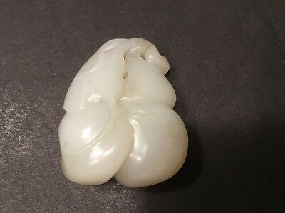 "Antique Chinese HETIAN White Jade Pendant with double Gourds, 2"" L, 18th Century"