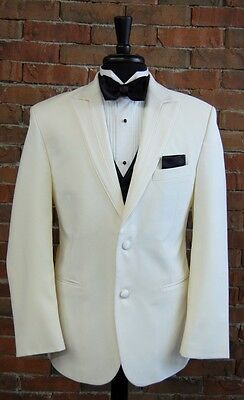 MENS 38 R IVORY SLIM FIT DINNER JACKET  TUXEDO RIO by PERRY ELLIS