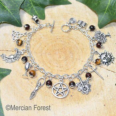 Wiccan Charm Bracelet - Tigers Eye - Pagan Jewellery, Wicca, Witch, Pentacle
