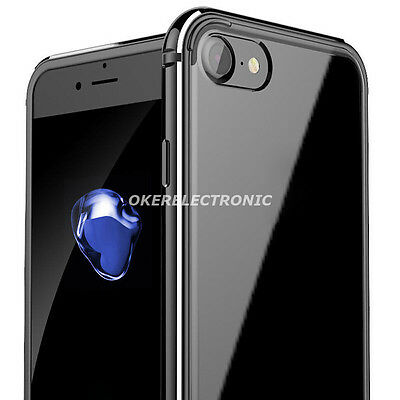 Jet Black Aluminum Metallic Bumper+Clear Hard Back Case Cover for iPhone 7 S002