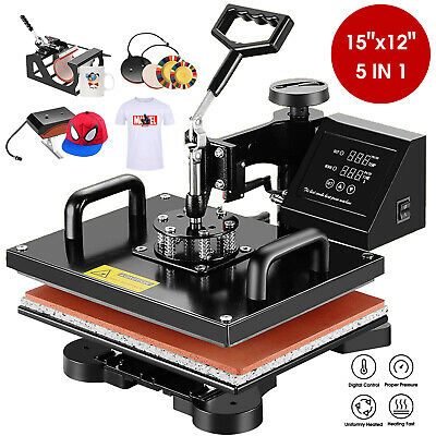 5 in 1 Swing Away Digital Heat Press Machine Sublimation T-shirt Mug Plate Hat