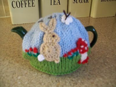 Hand Knitted Rabbit  In The Meadow Tea Cosy For A Small Teapot
